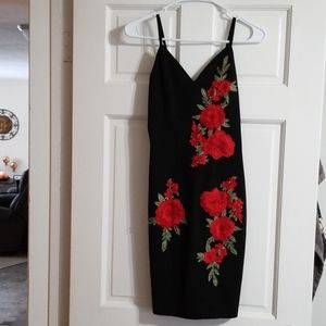 Beautiful black dress with flowers!